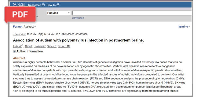 Association of autism with polyomavirus infection article