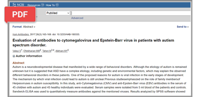 Evaluation of antibodies to cytomegalovirus and Epstein-Barr virus in patients with autism spectrum disorder article