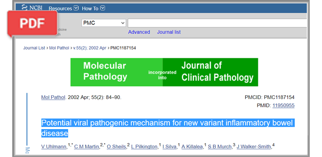 Potential viral pathogenic mechanism for new variant inflammatory bowel disease article
