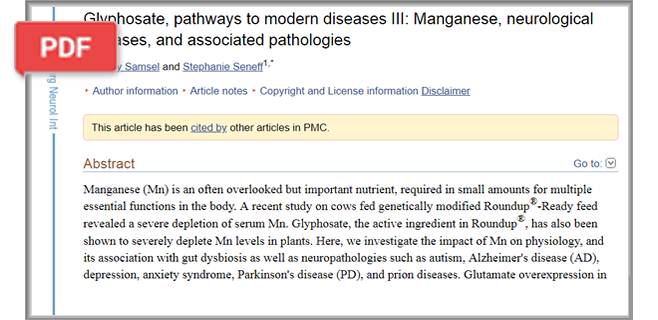 Glyphosate, pathways to modern diseases III: Manganese, neurological diseases, and associated pathologies article