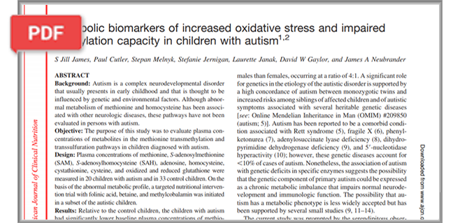Metabolic Biomarkers of Increased Oxidative Stress and Impaired Methylation Capacity in Children with Autism article