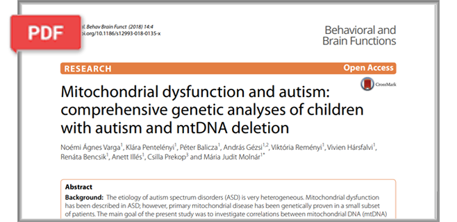 Mitochondrial dysfunction and autism: comprehensive genetic analyses of children with autism article
