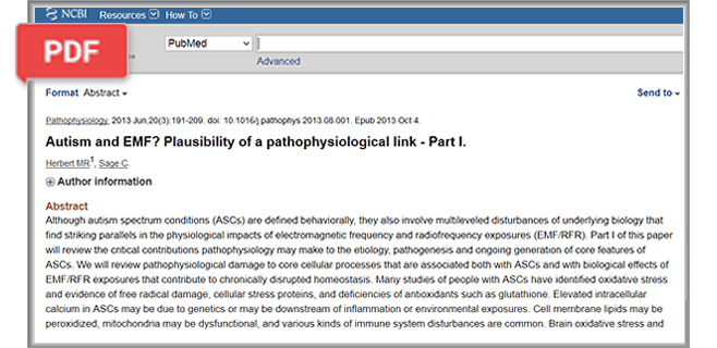 Autism and EMF? Plausibility of a Pathophysiological Link article-part 1