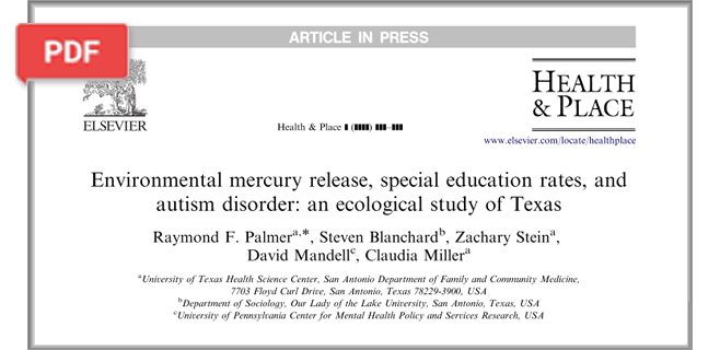 Environmental Mercury Release, Special Education Rates, and Autism Disorder article