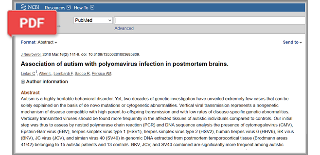 Association of autism with polyomavirus infection in postmortem brains article