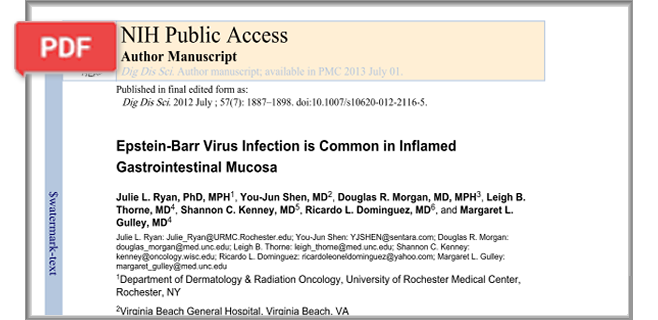 Epstein-Barr Virus Infection is Common in Inflamed Gastrointestinal Mucosa article